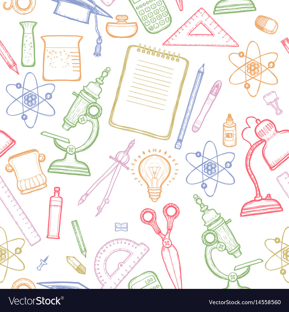 Green school detailed seamless pattern vector image