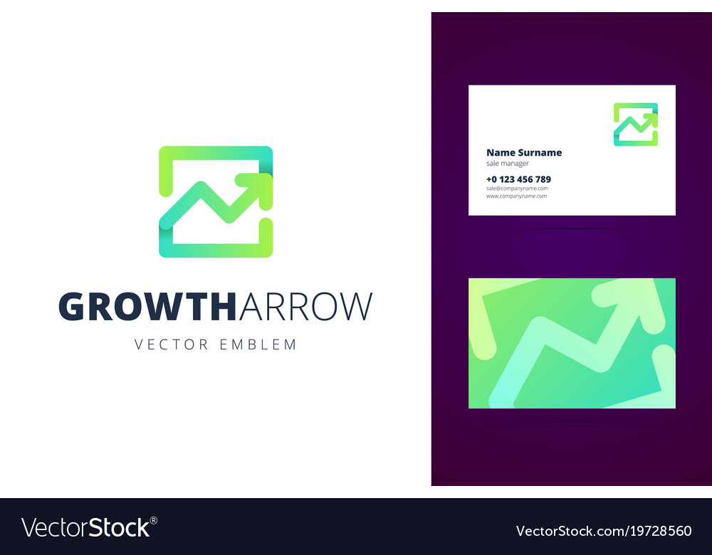 Growing chart logo and business card template Vector Image