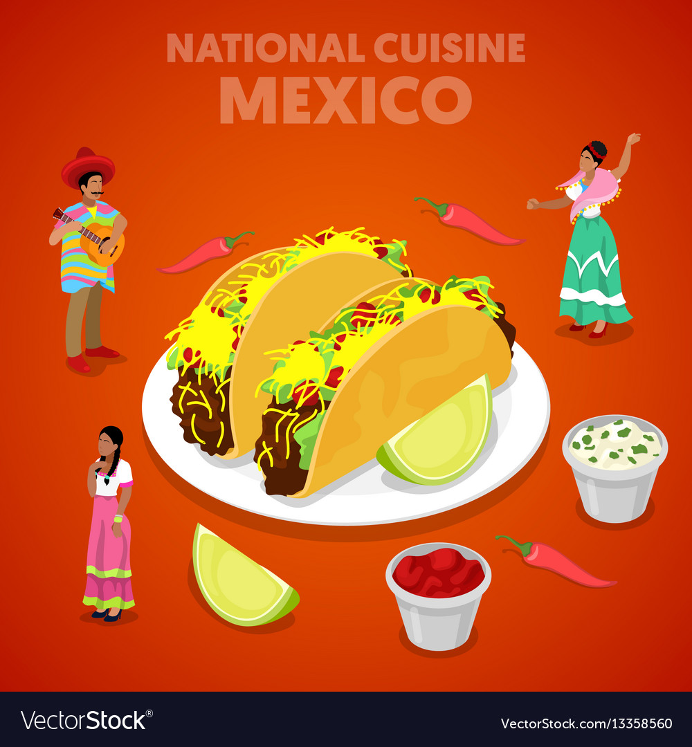 Isometric mexico national cuisine with tacos