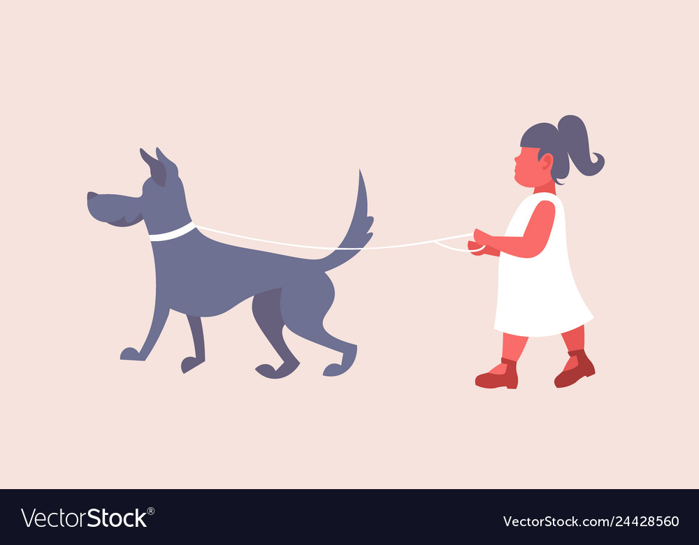 Little girl in white dress walking with dog cute