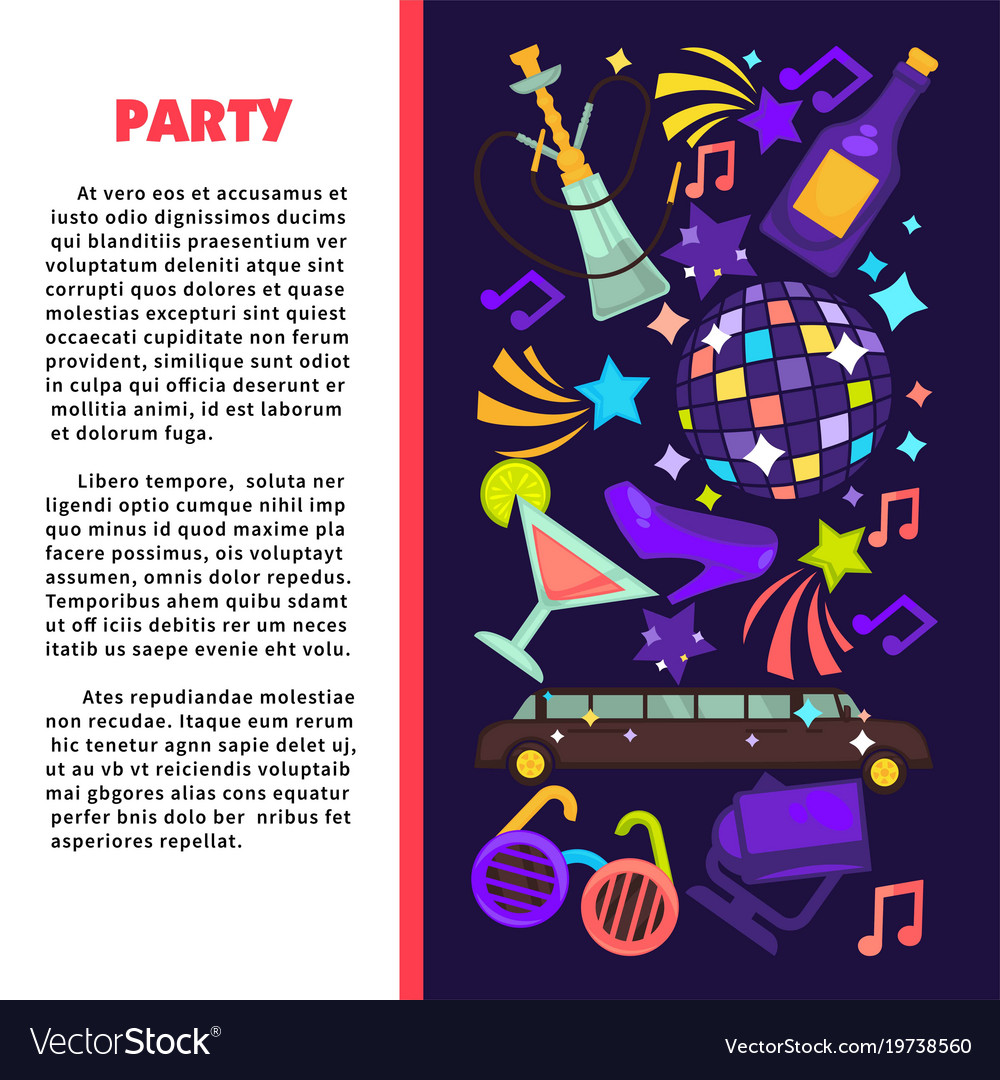 Party poster for birthday celebration or disco