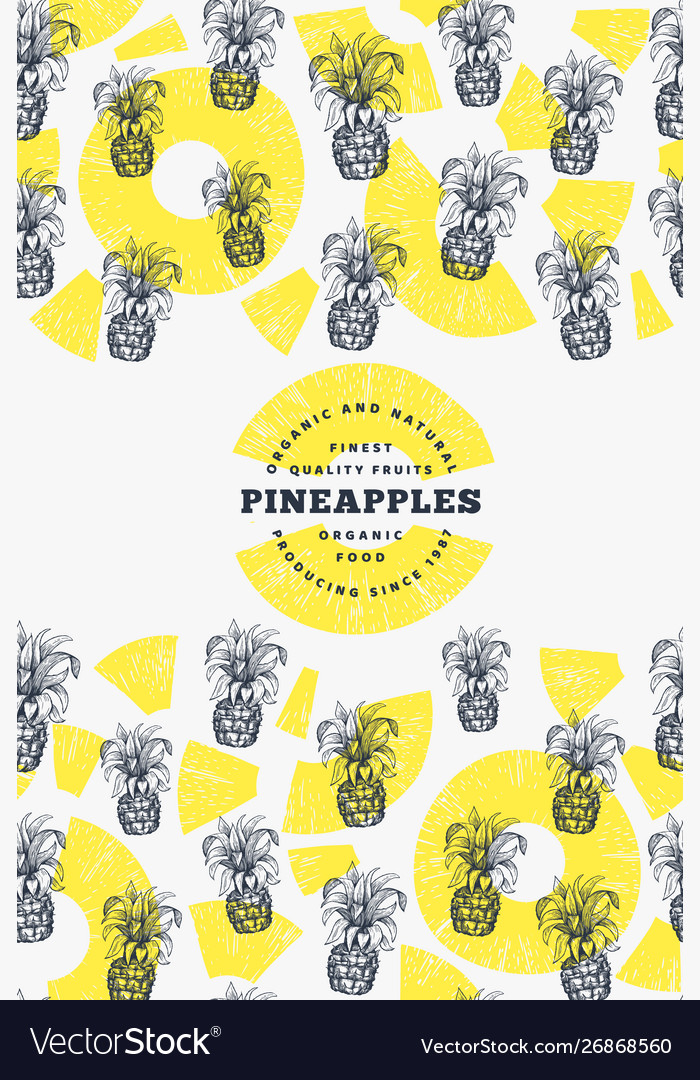 Pineapples and tropical leaves design template