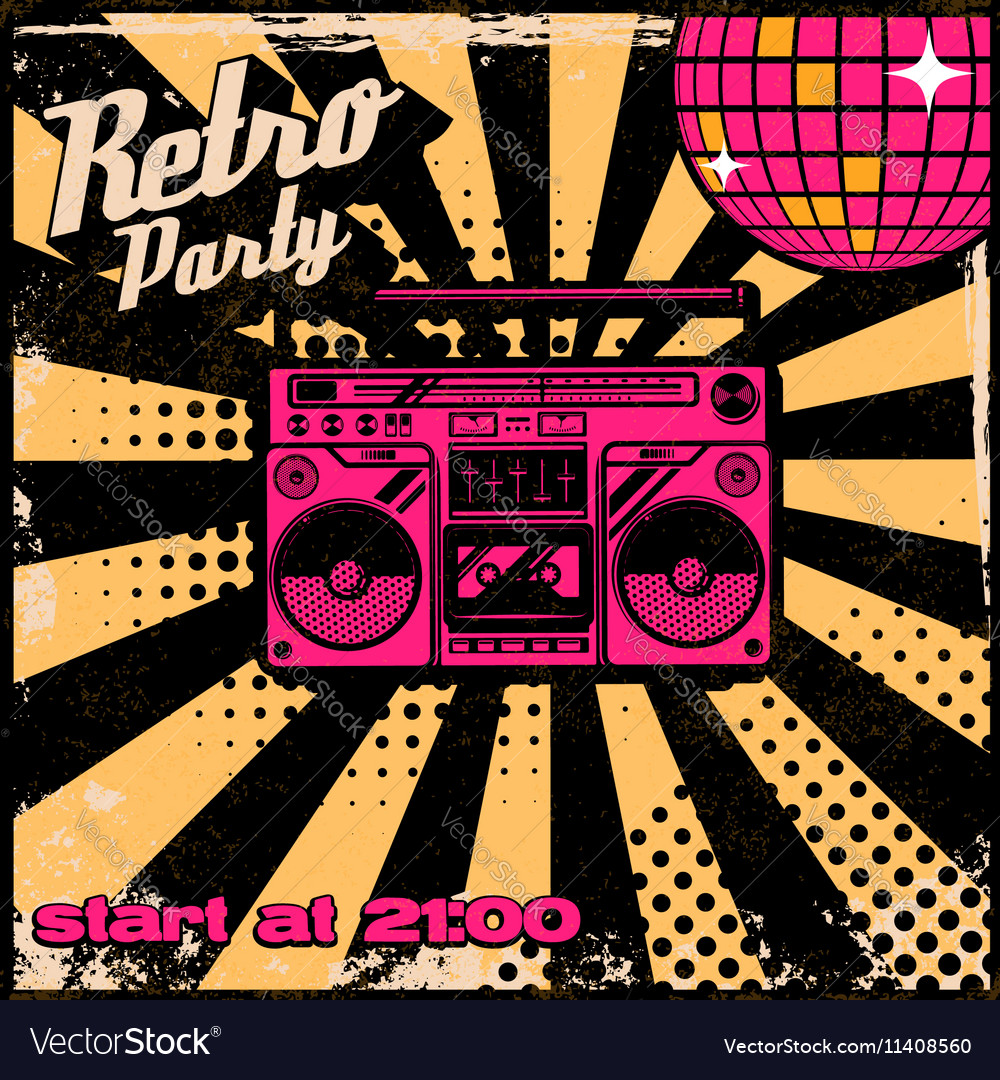 Retro party poster template with boombox on grunge