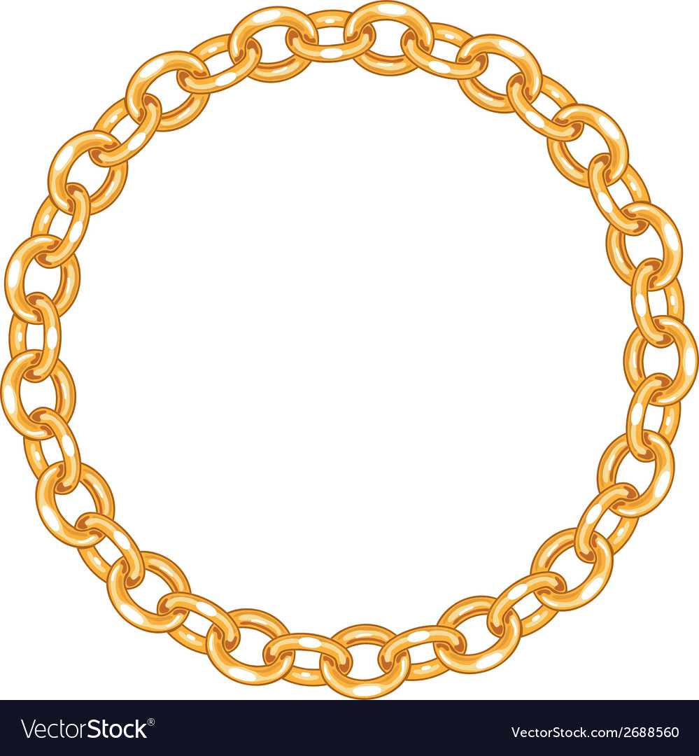 2d95ef85c760 Round frame - gold chain on the white background Vector Image