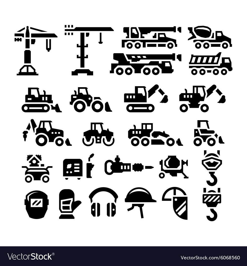 Set Icons Of Construction Equipment Royalty Free Vector