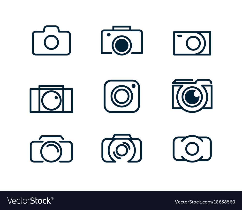 Set of linear camera icons logo of the photograph