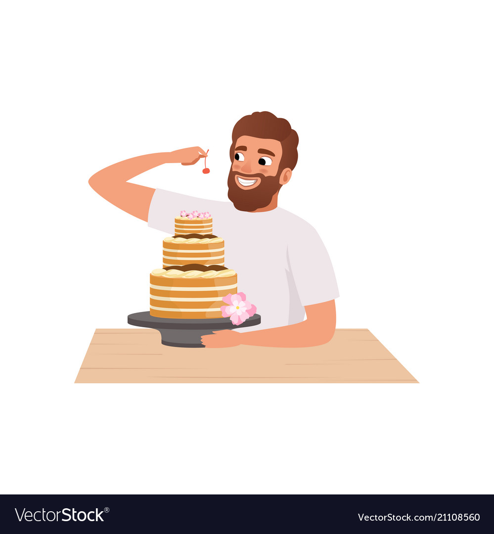 Smiling bearded man making a cake young man in