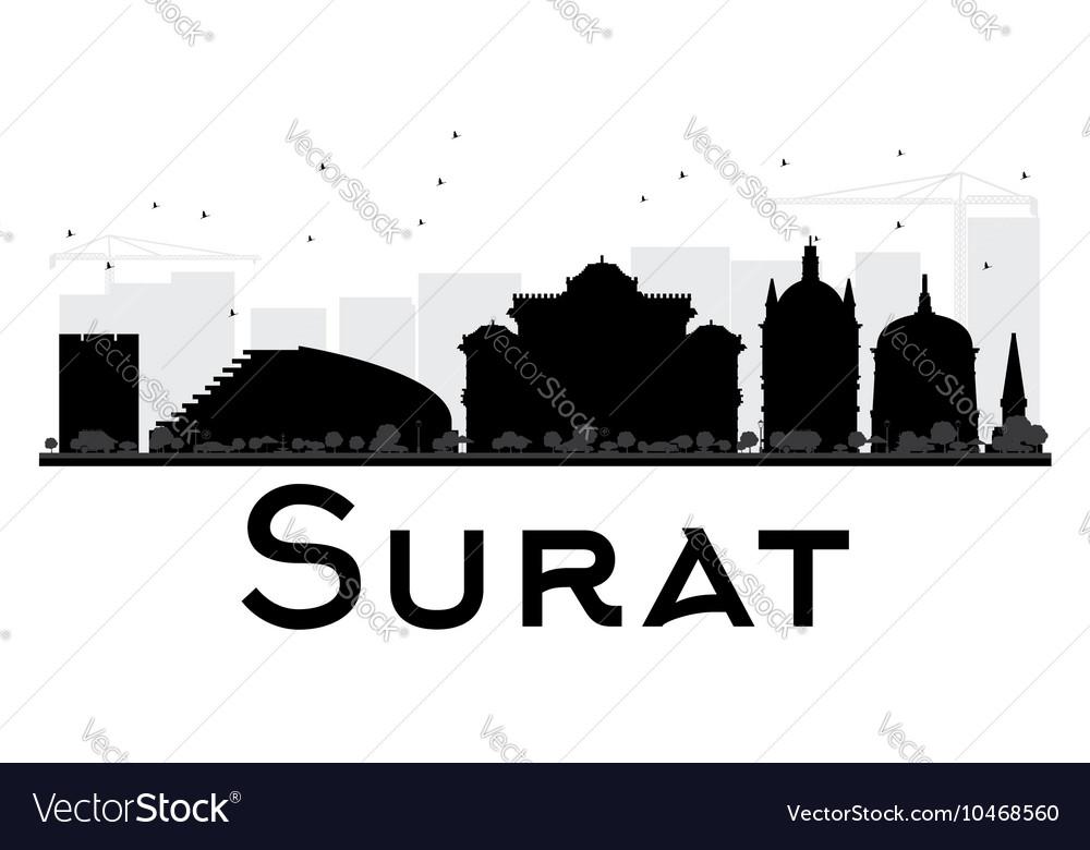 Surat City Skyline Black And White Silhouette