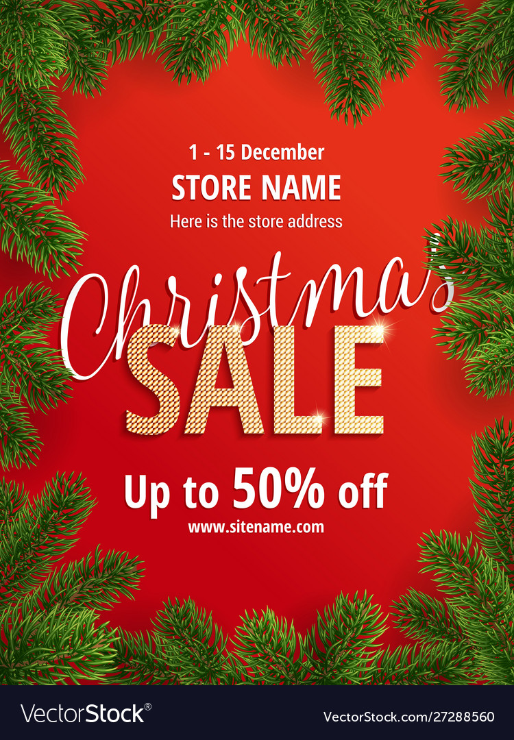 The christmas sale red poster for shop