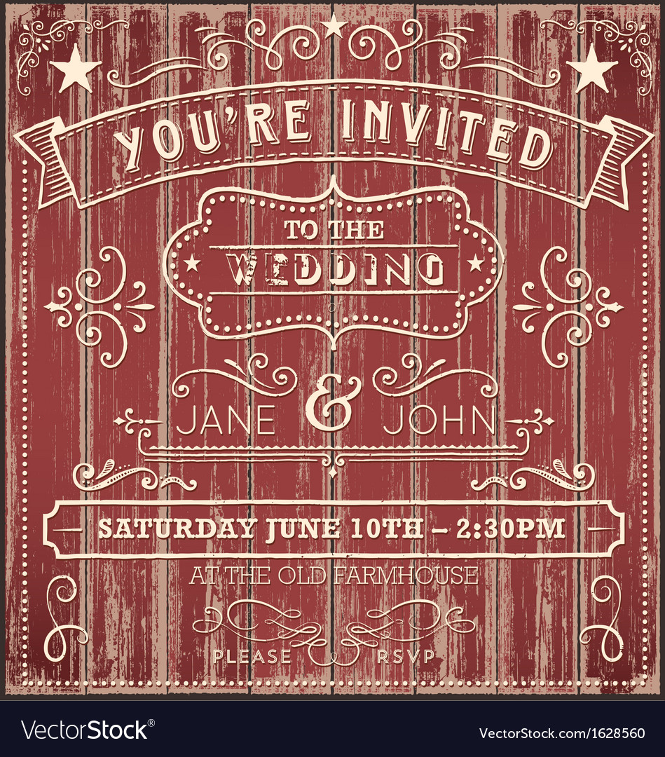 Vintage Country Wedding Invitation Royalty Free Vector Image