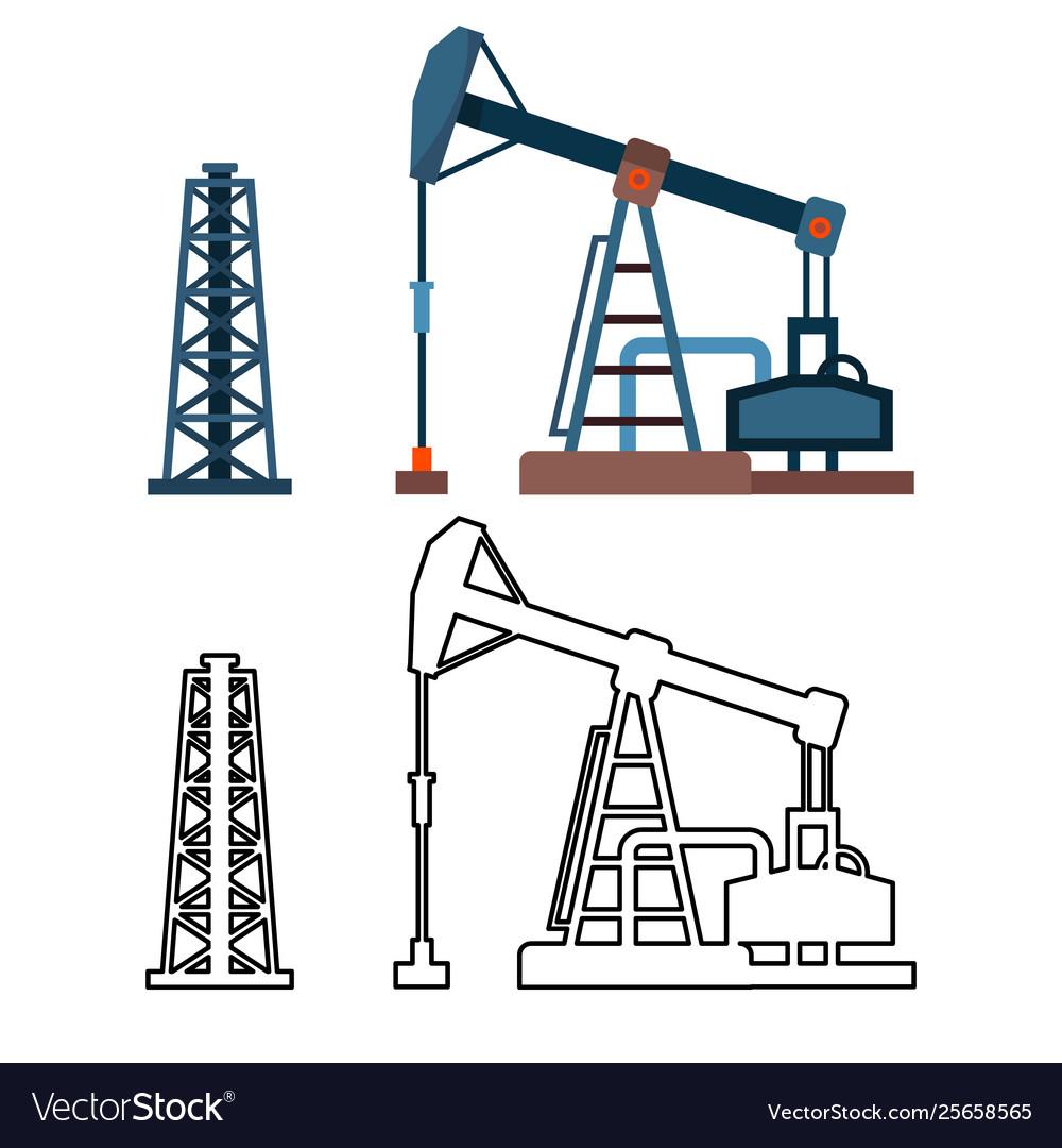 Drawn industrial equipment oil pump rig set
