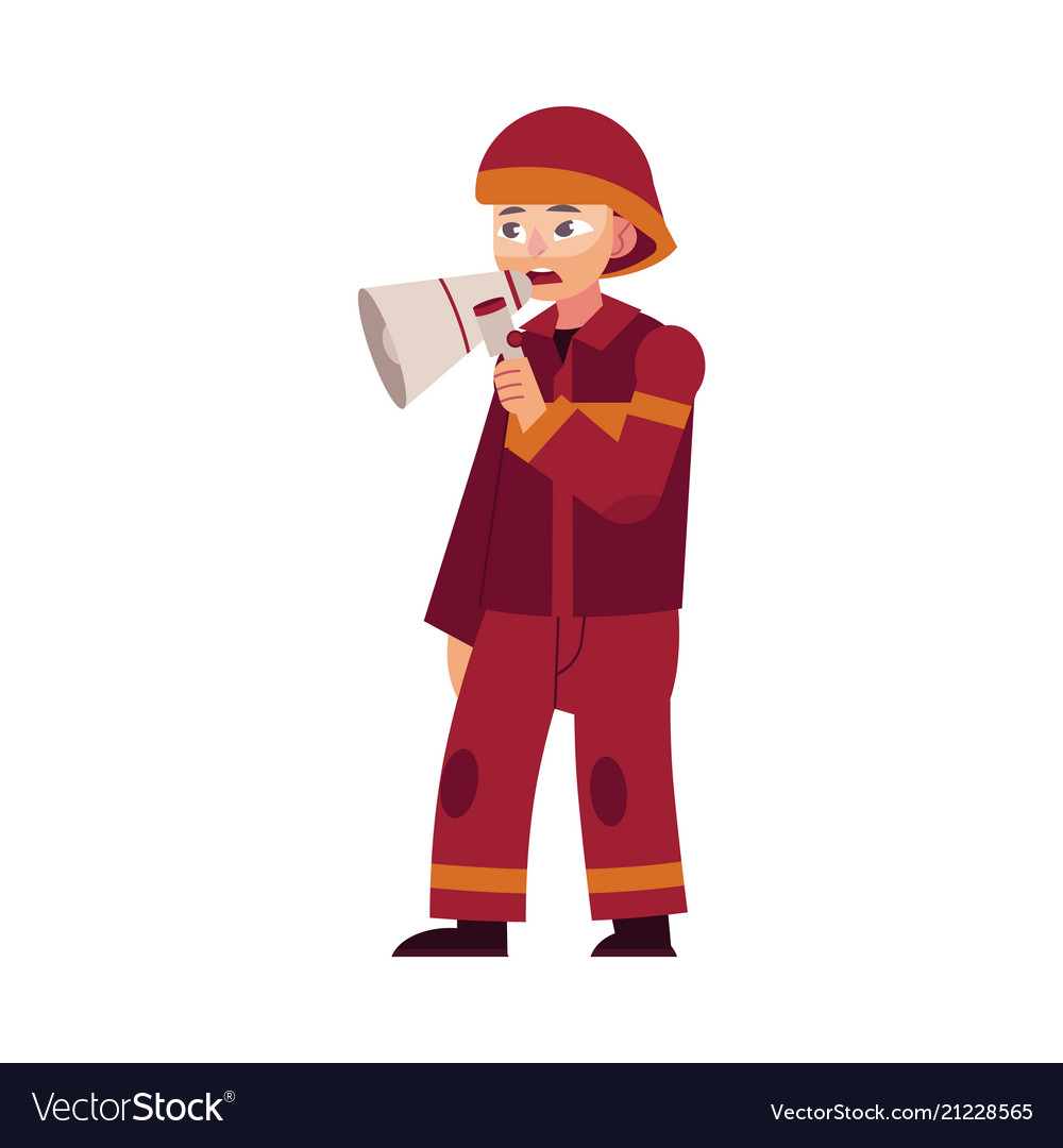 Firefighter in red protective uniform and helmet