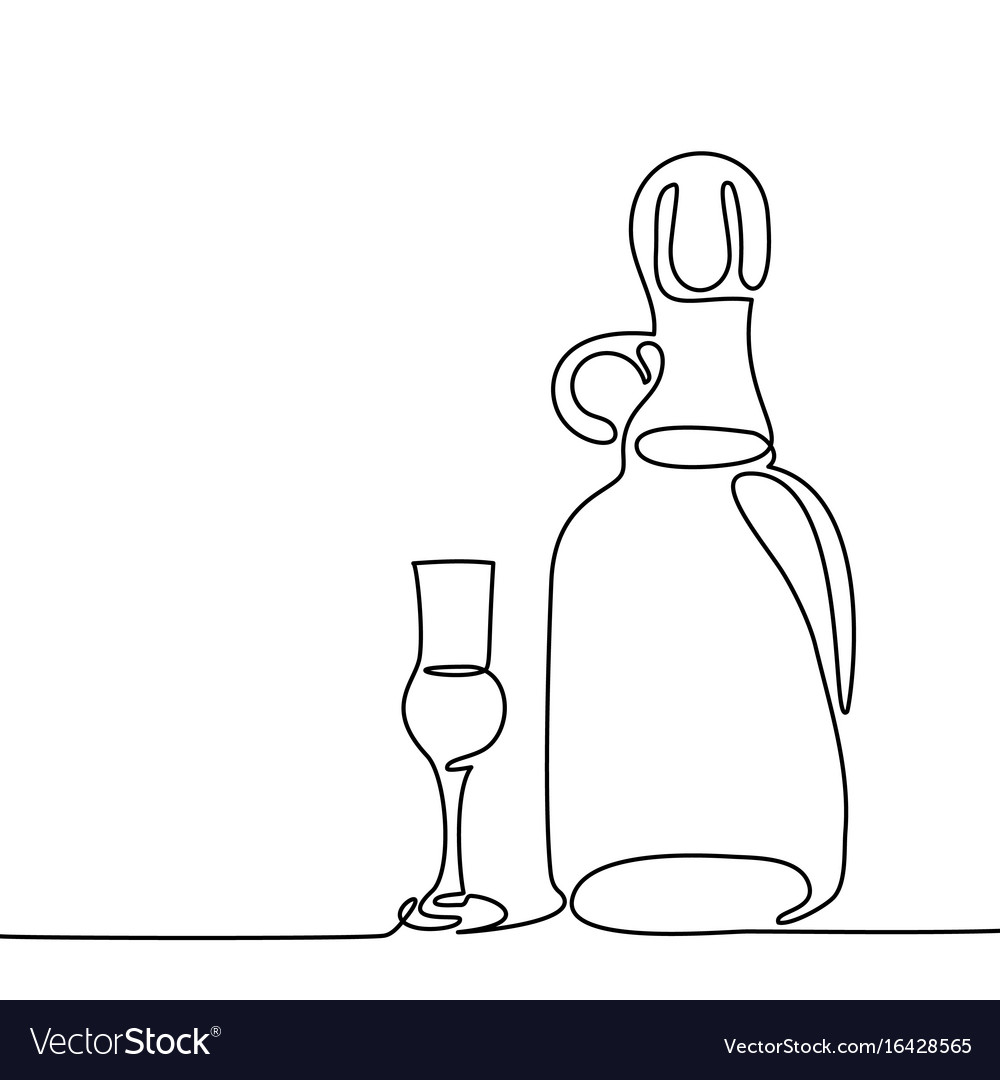 Grappa bottle and glass isolated