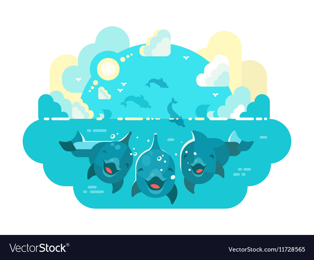 Happy dolphins swim and jump vector image