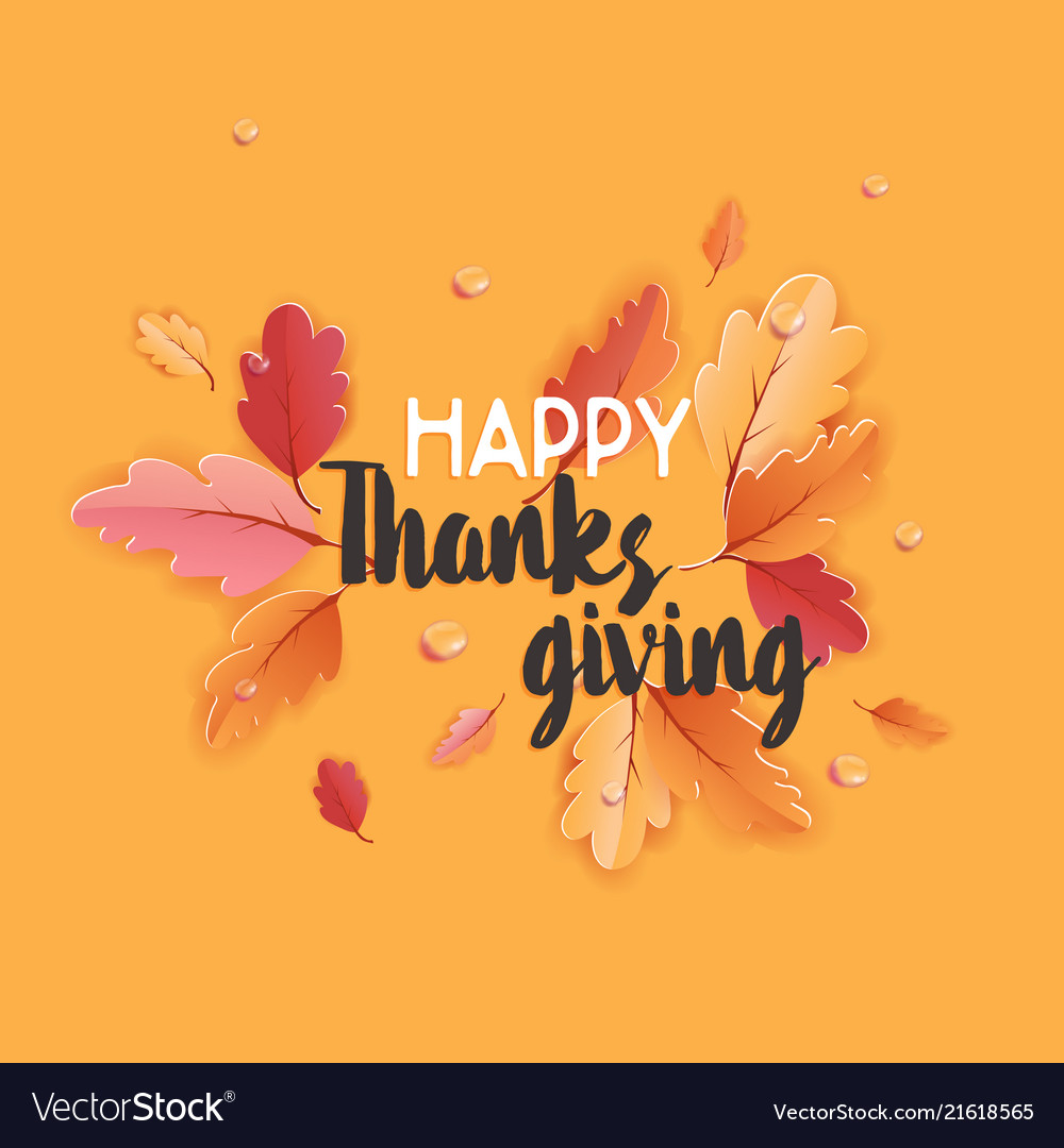 Happy thanksgiving holiday typography poster