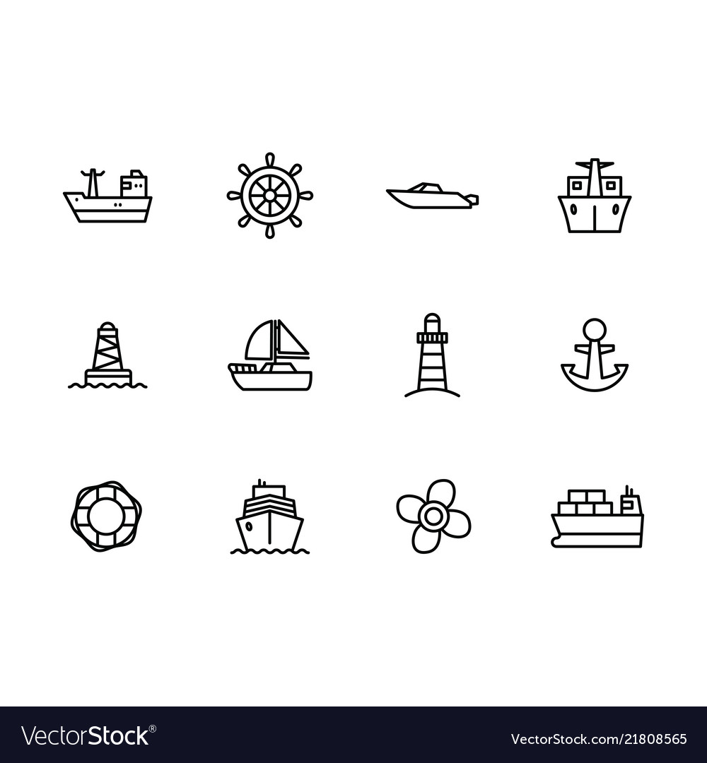 Icon set sea ship sailing boat steering