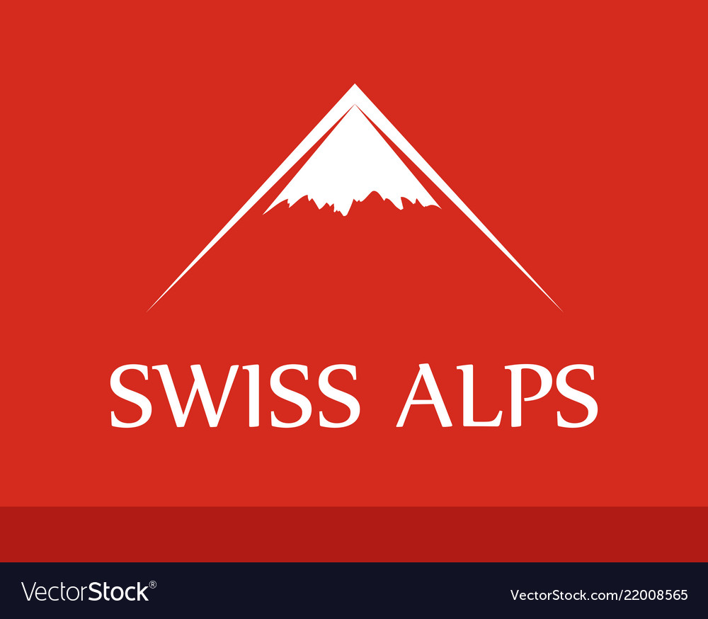 Logo of swiss alps on red background