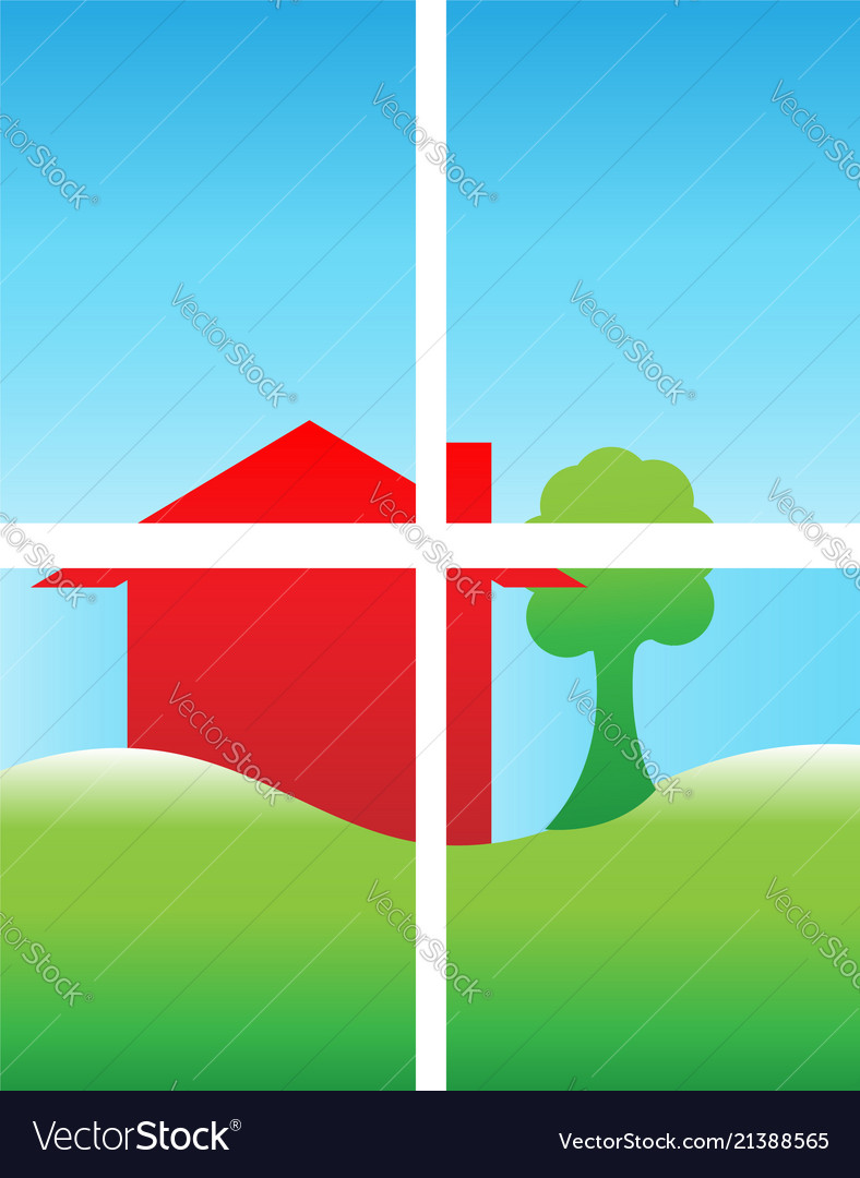 Looking through a window house and fields icon