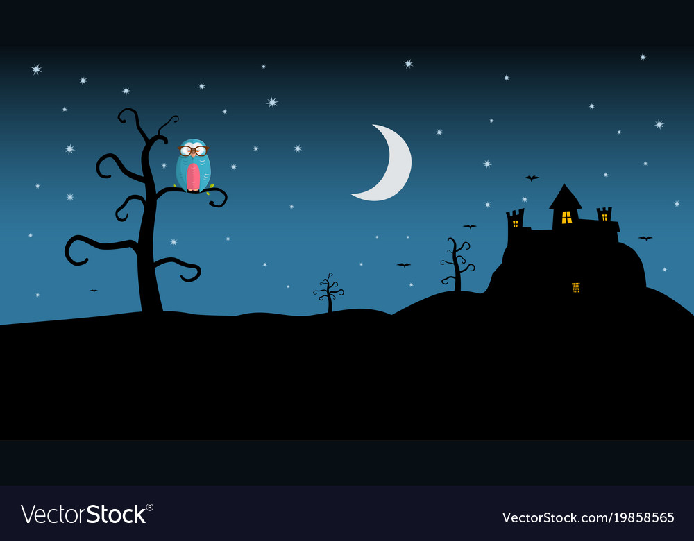 Night landscape with spooky castle and owl on