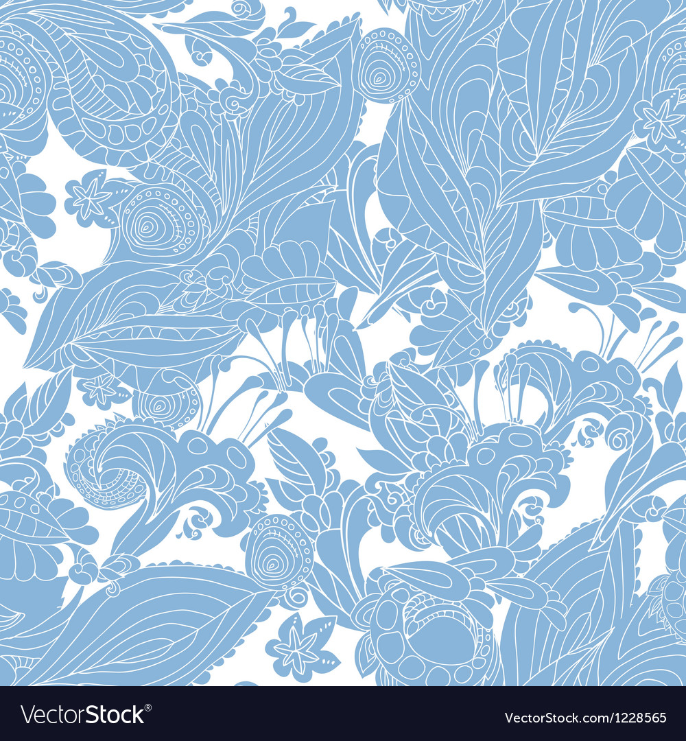 Vintage Blue Floral Seamless Pattern Royalty Free Vector