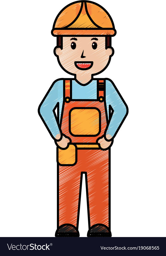 Worker man construction standing character