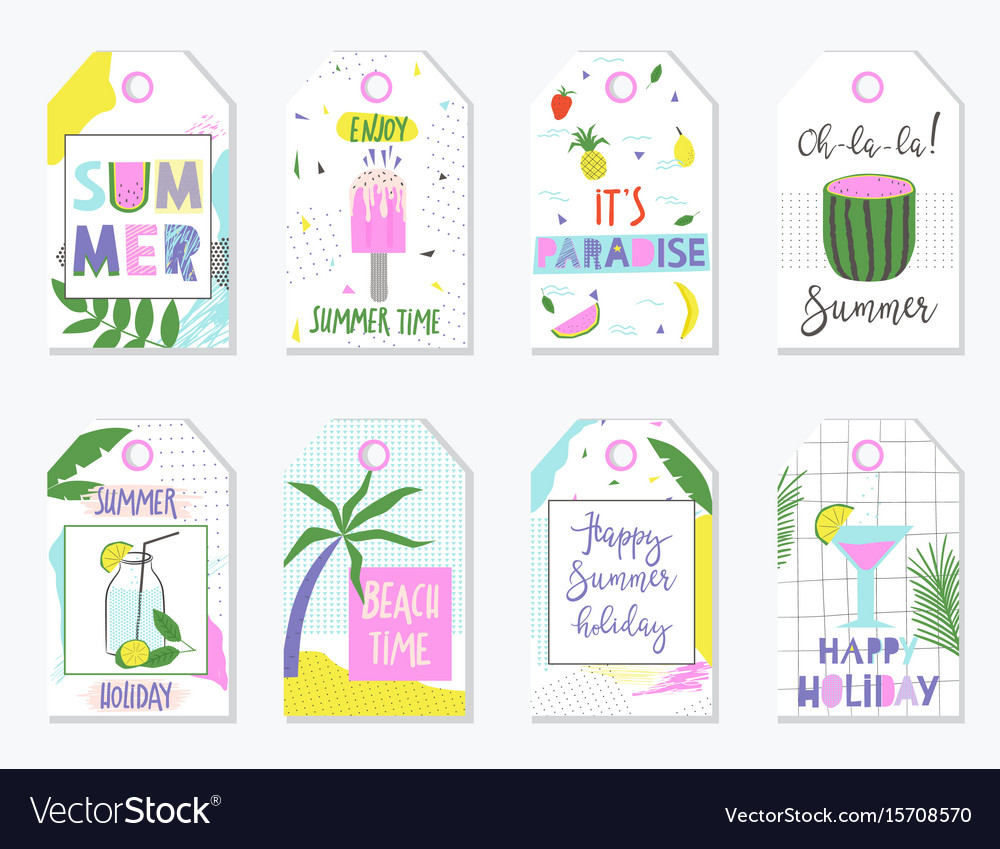 photo regarding Printable Gift Labels called Vibrant summer months present tags and labels