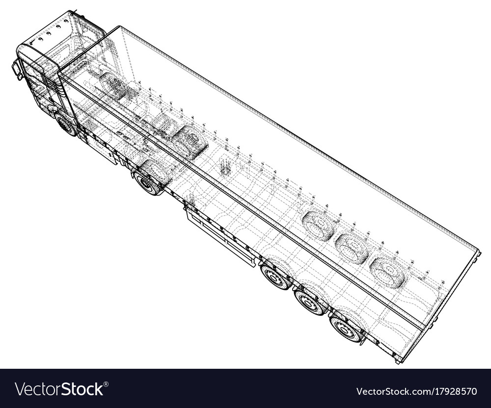 Car Delivery Semi Truck Trailer Wire Frame Eps10 Vector Image How To A