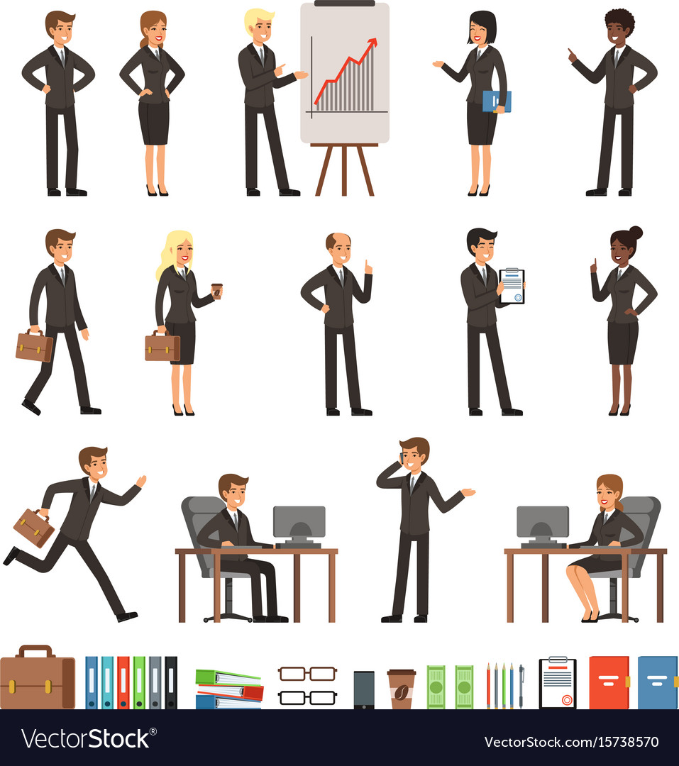 Characters design set of business people man and