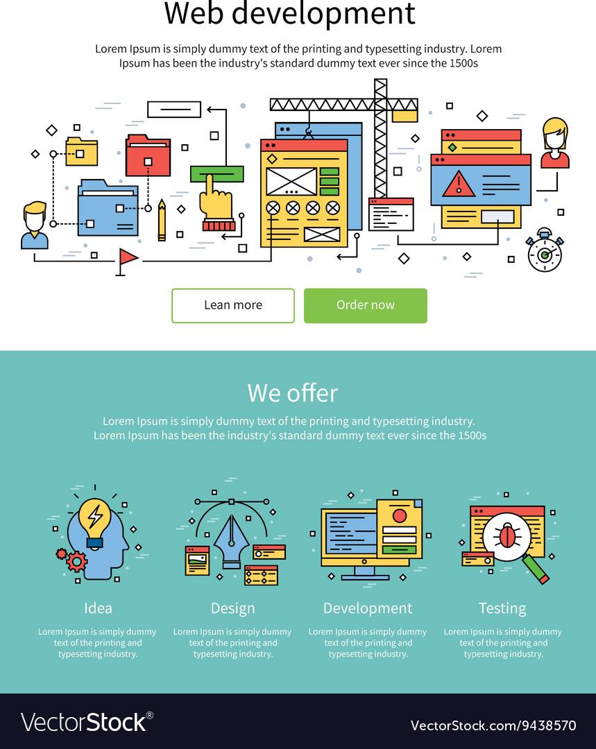Colored Web Development Banner Set