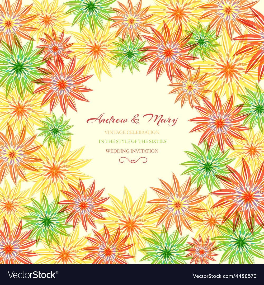 Colorful abstract floral with leaves and flowers