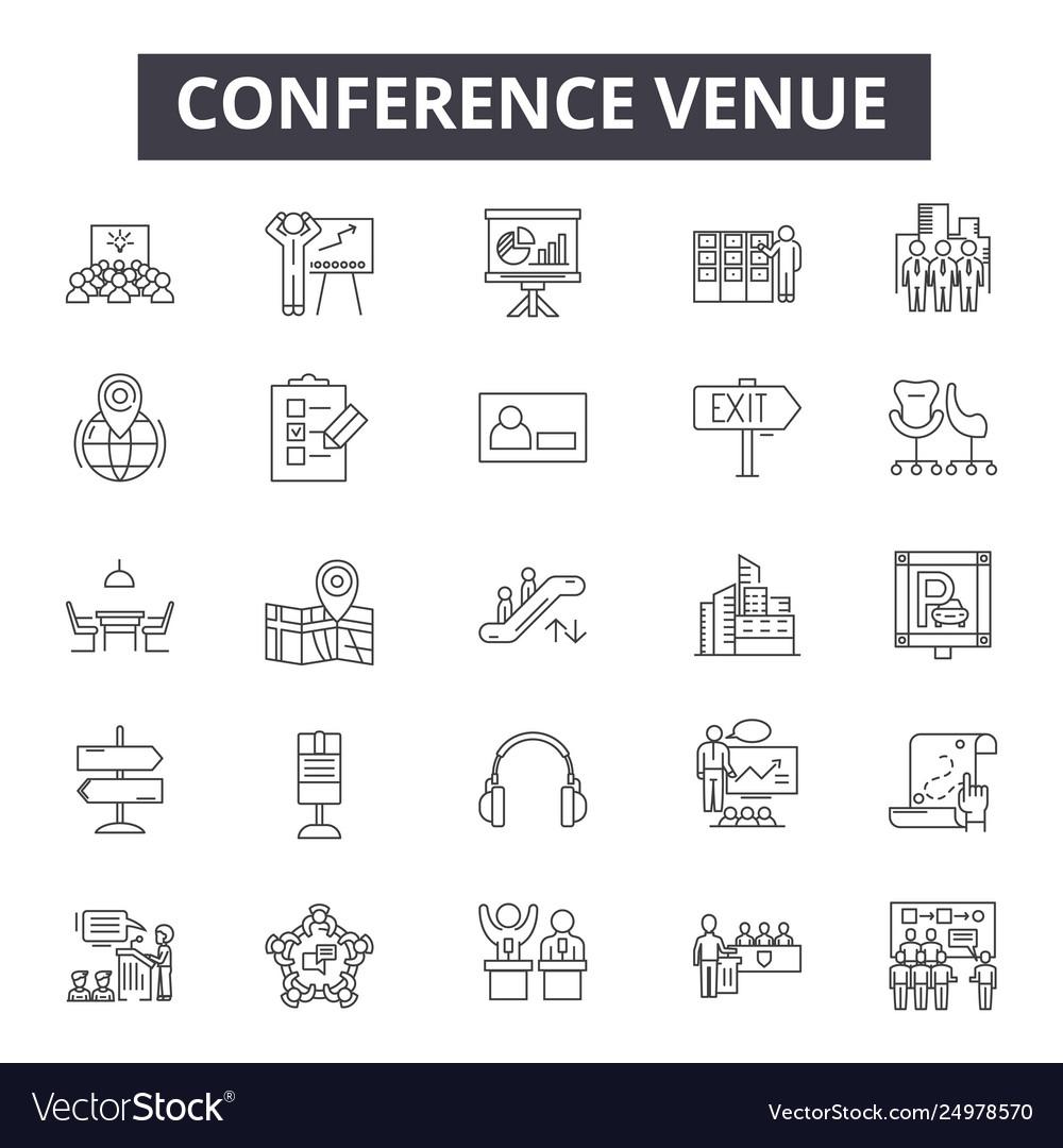 Conference venue line icons signs set