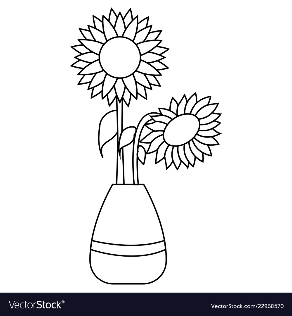 Cute Drawing Sunflower Royalty Free Vector Image