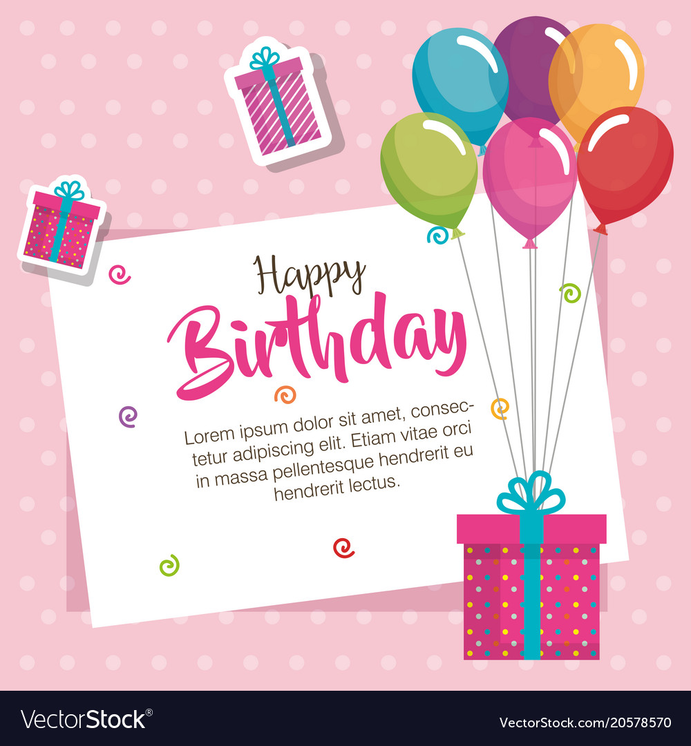 Happy Birthday Balloons Air And Gift Celebration Vector Image
