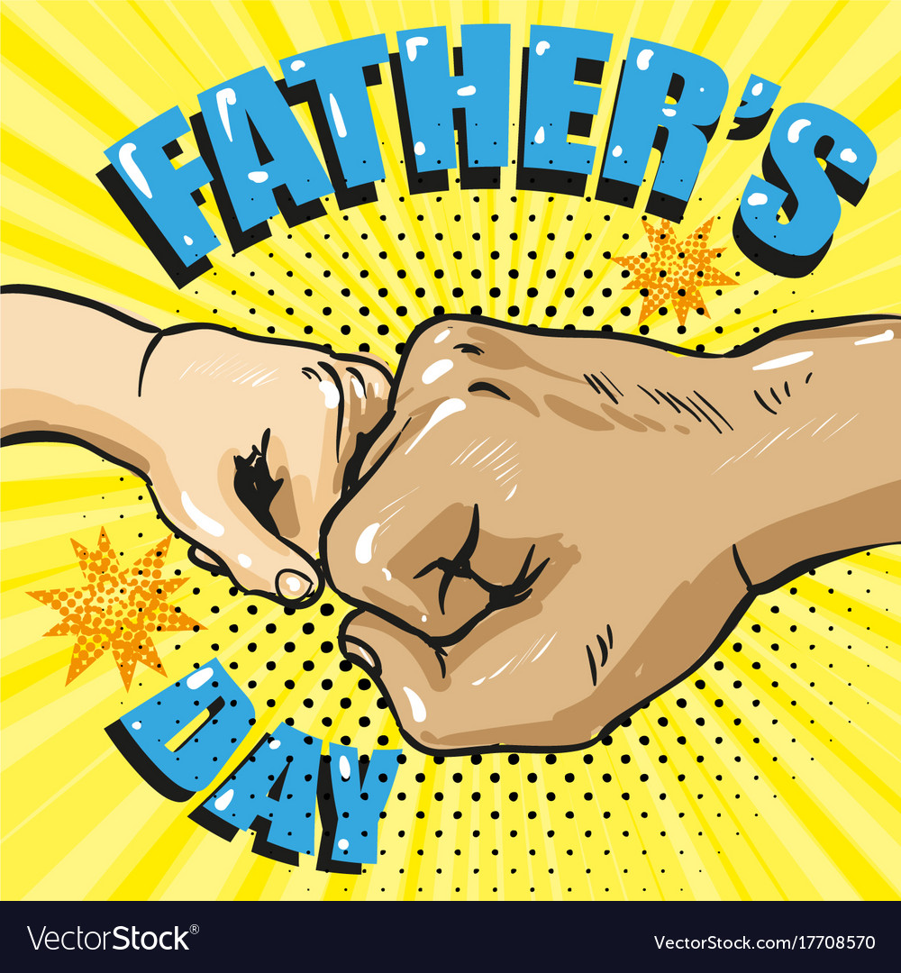 Happy fathers day poster in retro comic style pop