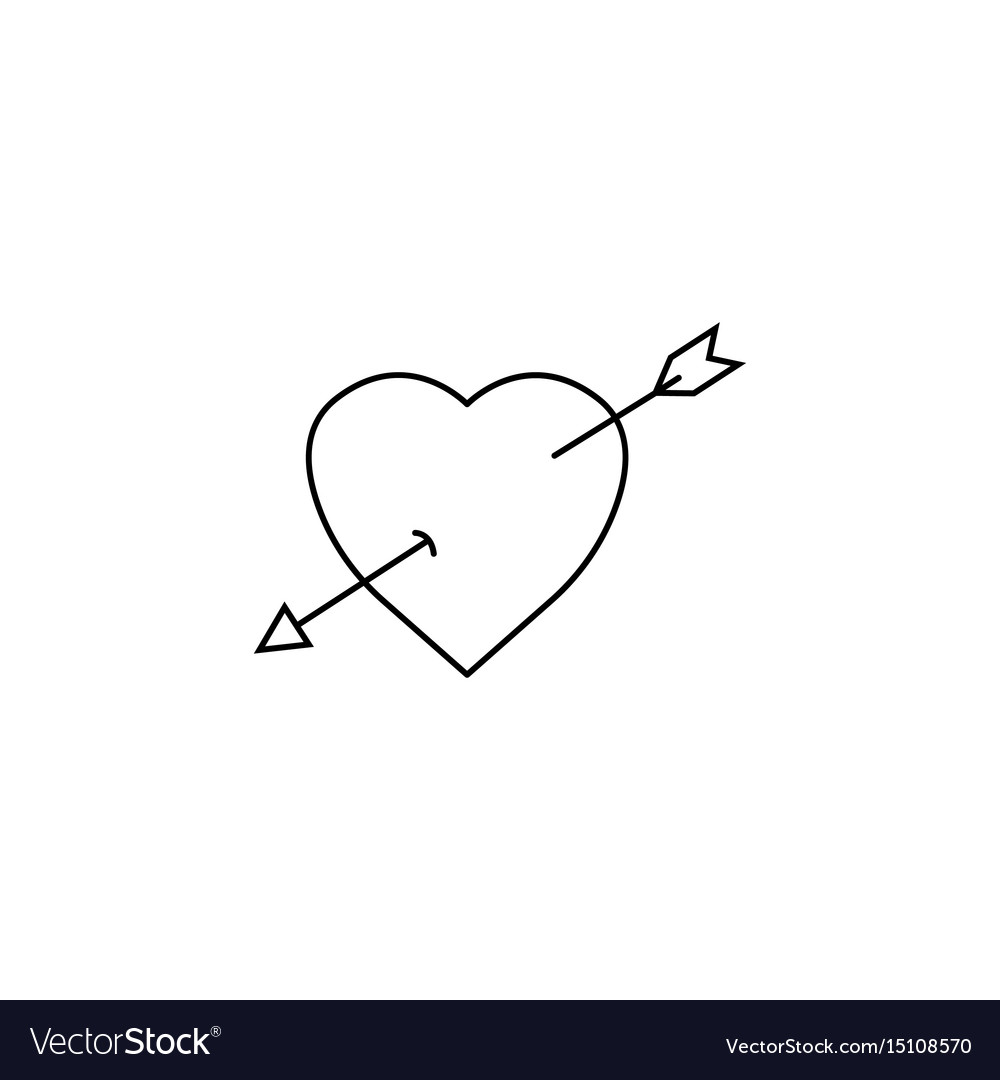 Heart with arrow line icon love sign valentines
