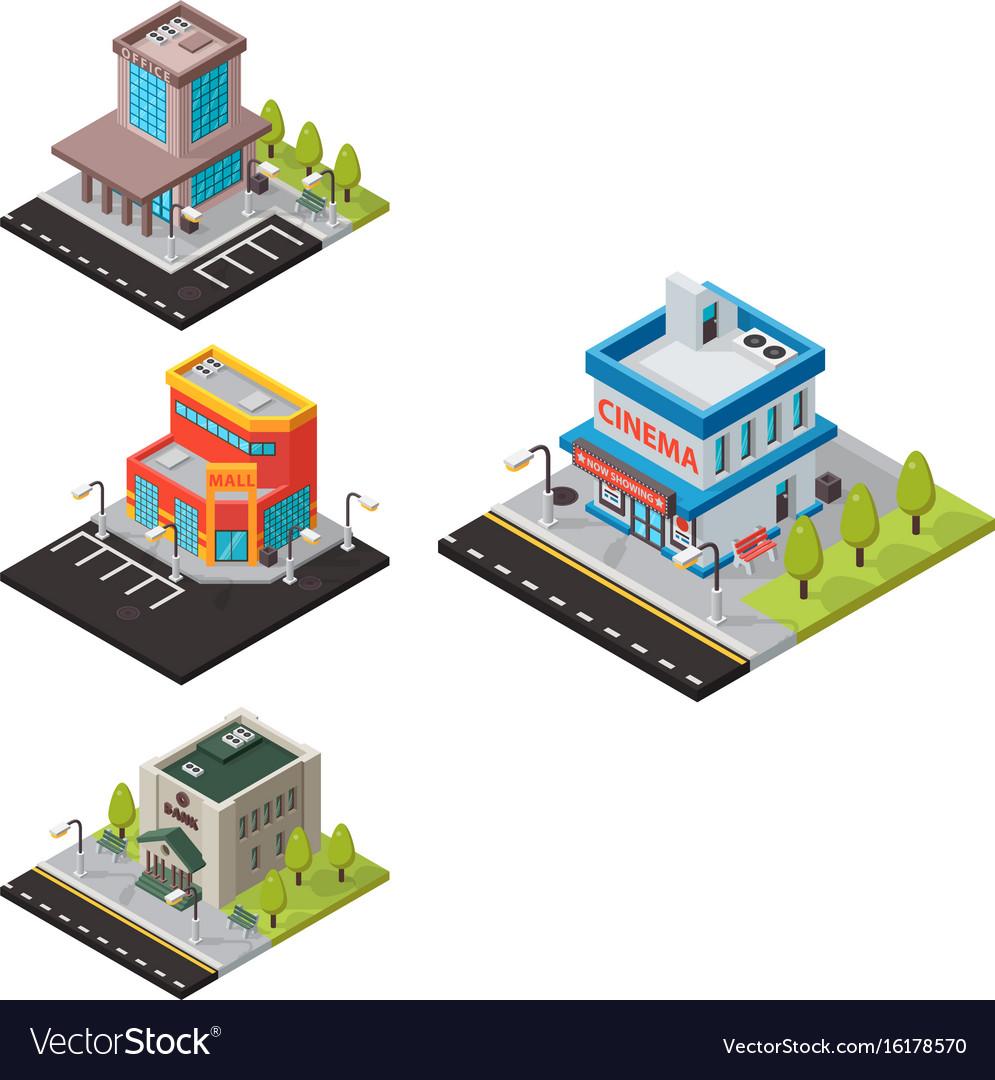 Isometric buildings isolated