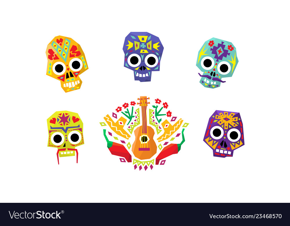 Mexican sugar skulls set day of the dead mexican