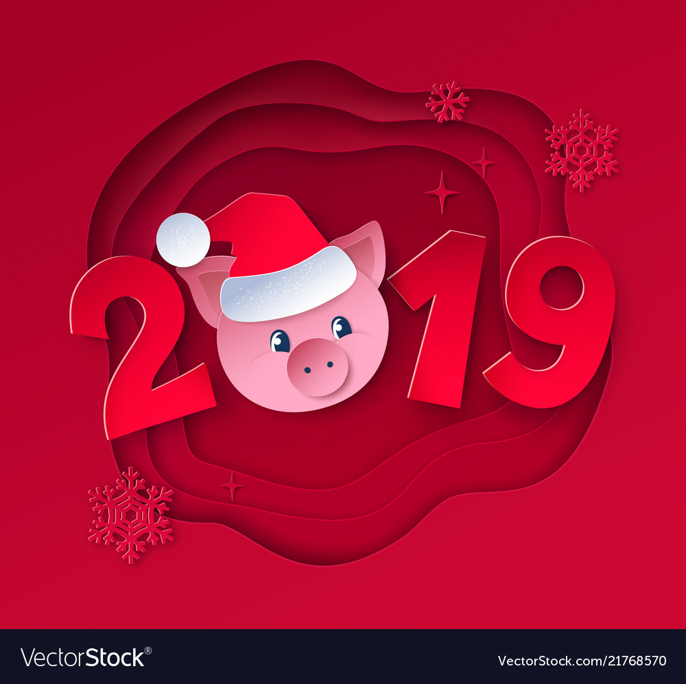 New year with cute pig