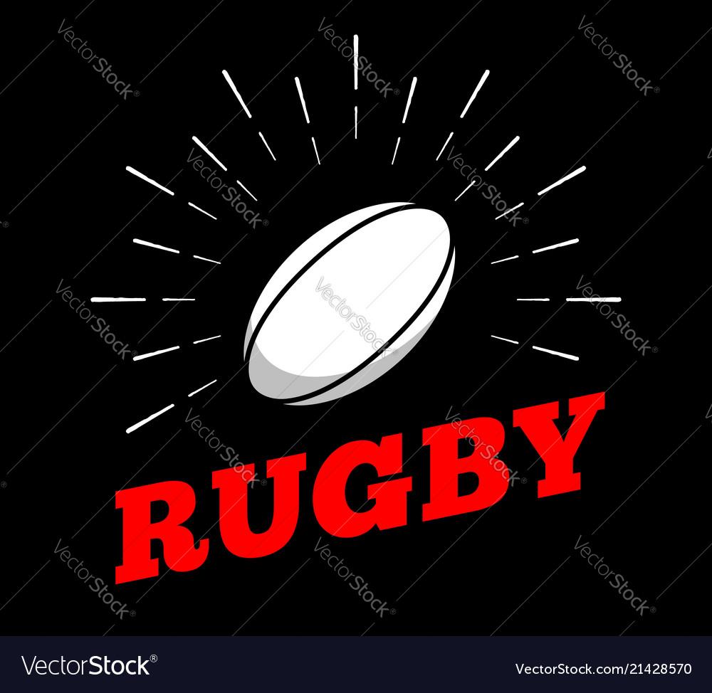 Rugby football sport ball logo icon sun burtst