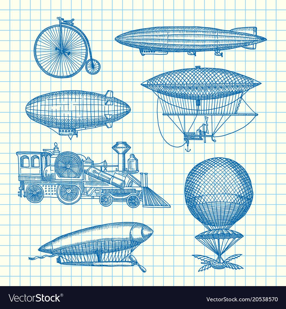 Set of steampunk hand drawn dirigibles