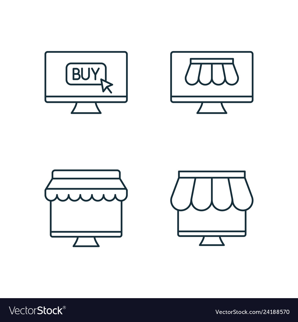 Shopping by online market line icons set on white
