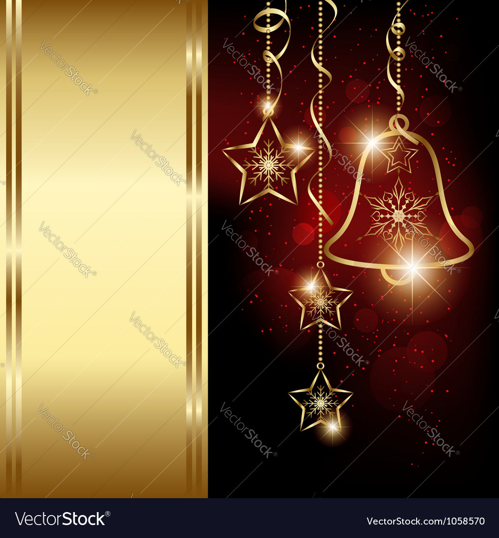 Sparkling Red Gold Christmas Bell Snowflakes