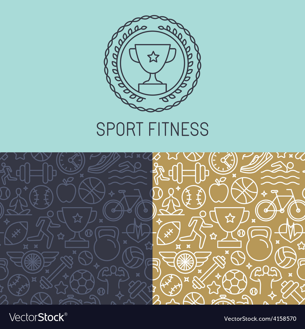 Sport badge and seamless pattern