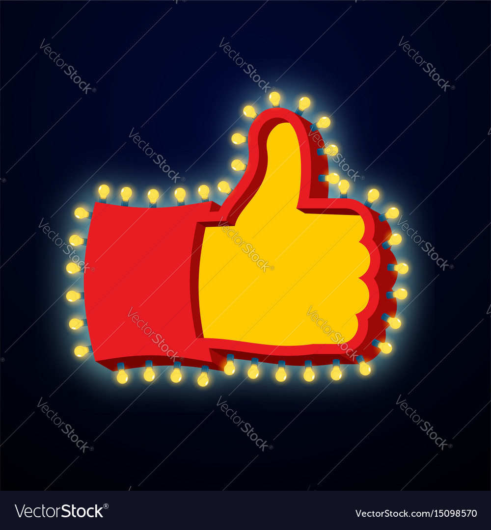 Thumb up sign with glowing lights like symbol of