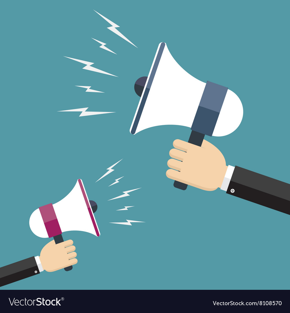 Two hands holding megaphones opposite each other vector image
