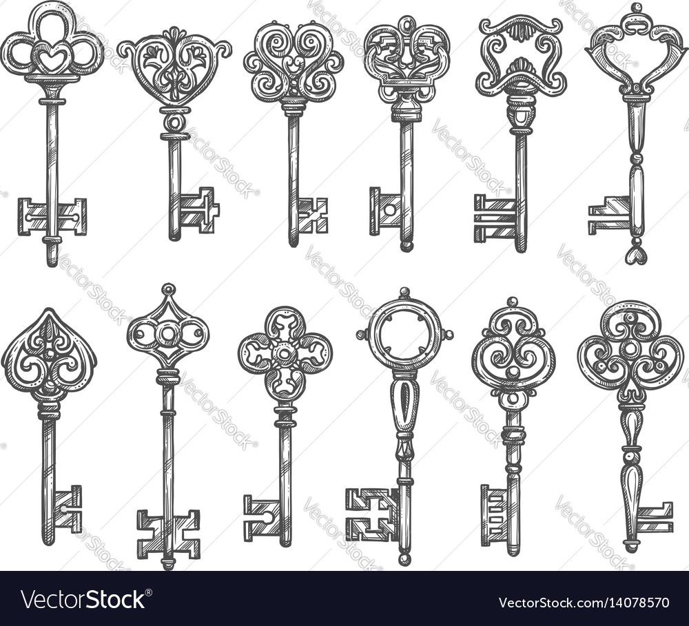 Vintage keys isolated icons sketch set