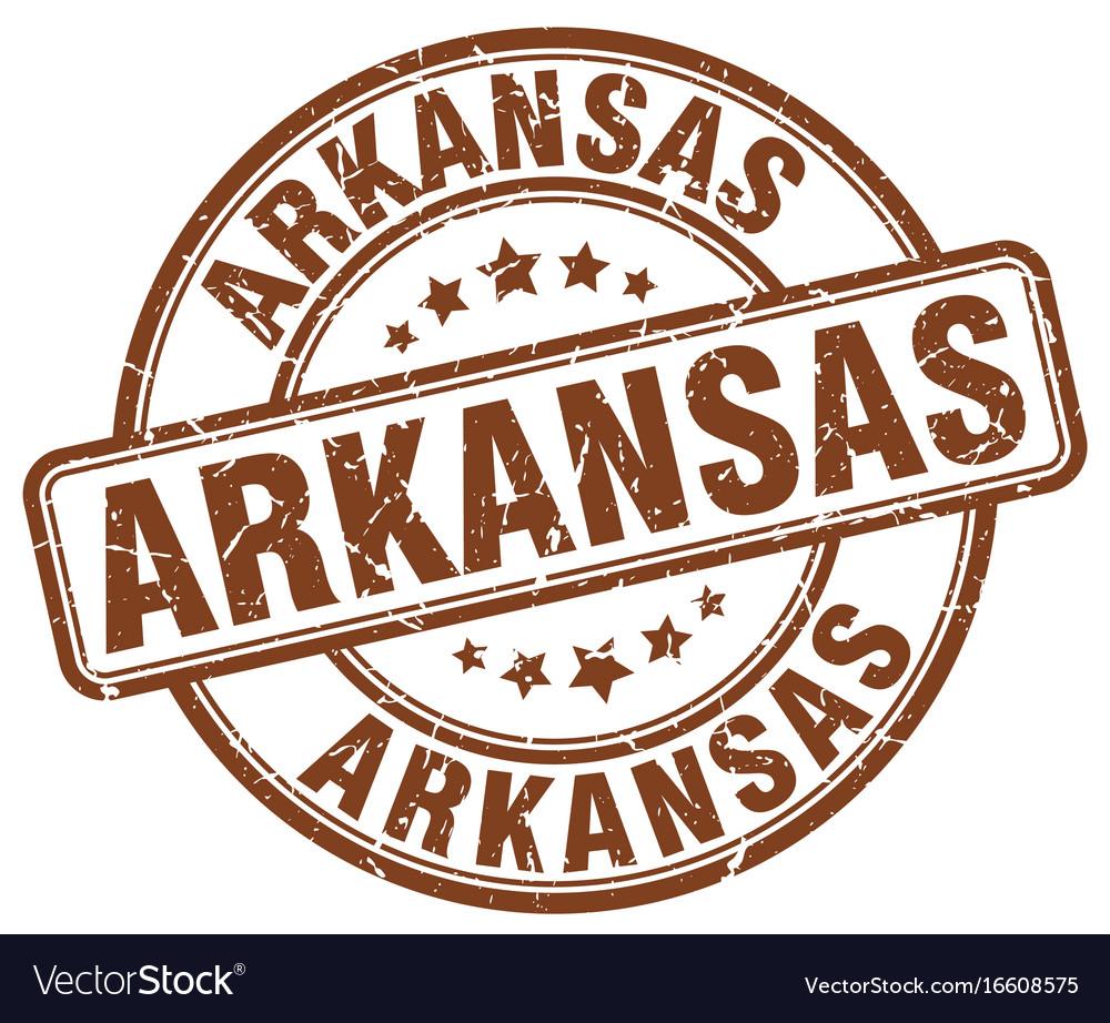 Arkansas brown grunge round vintage rubber stamp vector image
