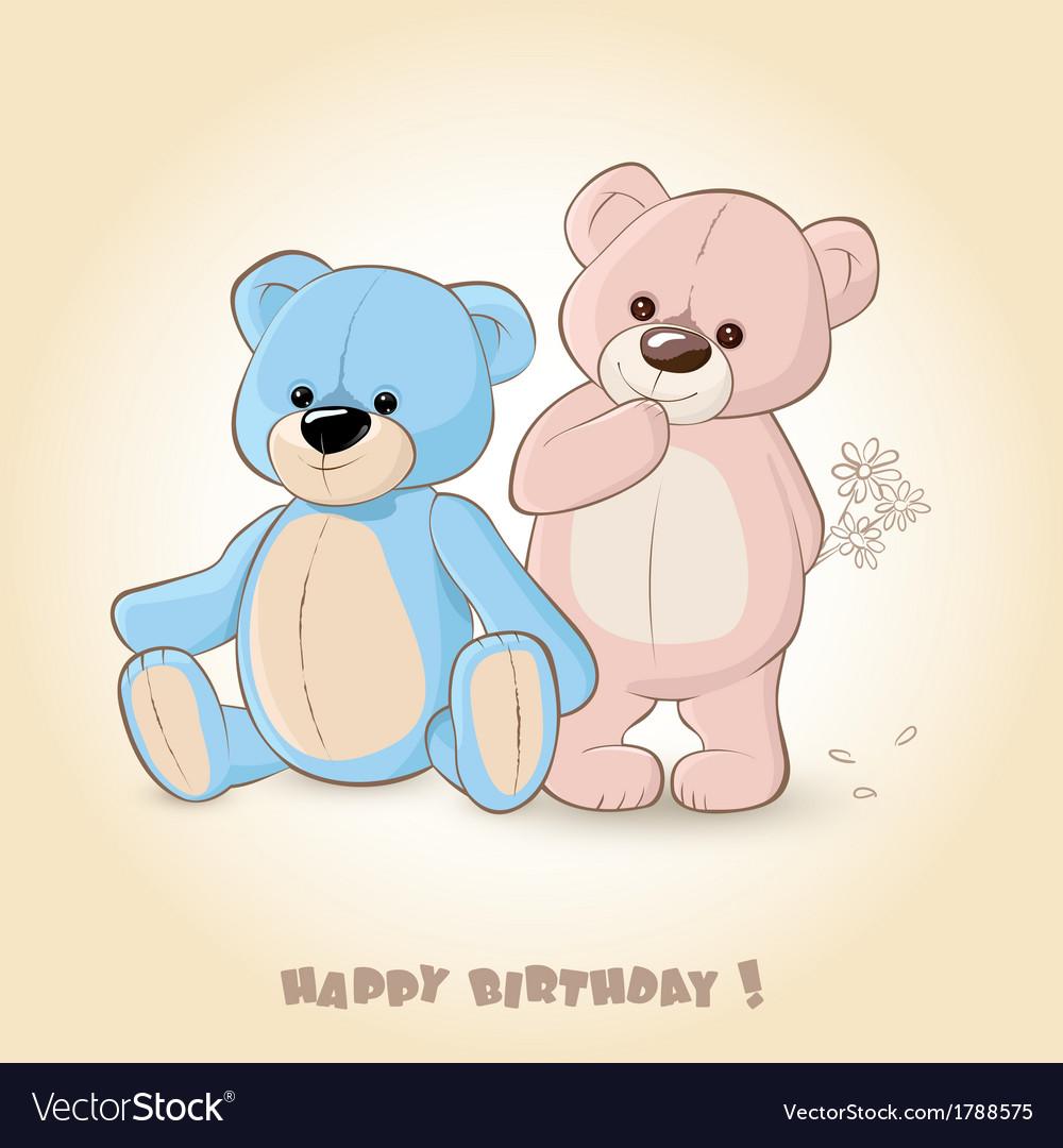 teddy bears vector  Birthday Card with Teddy Bears Royalty Free Vector Image