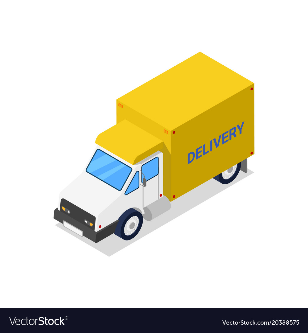 Container truck isometric 3d icon vector image