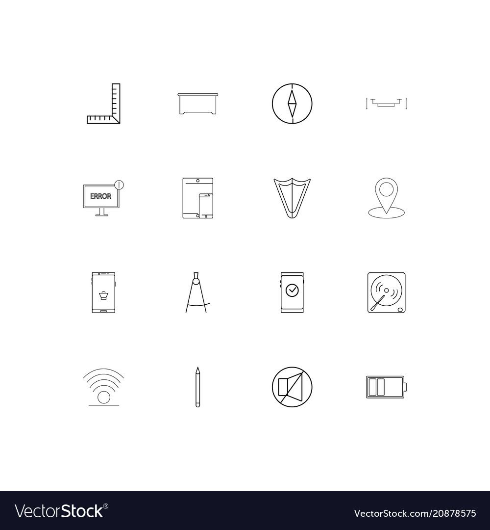 Devices linear thin icons set outlined simple